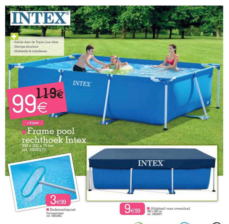 Yess Frame Pool Rechthoek Intex 300x200x75 Cm , Bodemschepnet, Afdekzeil Voor Zwembad