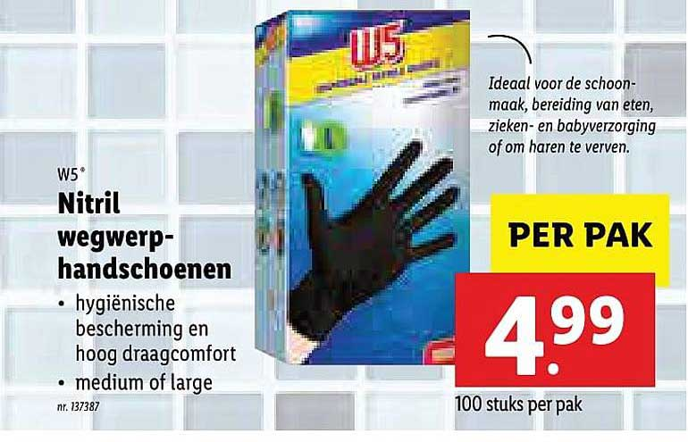 Lidl W5 Nitril Wegwerp Handschoenen