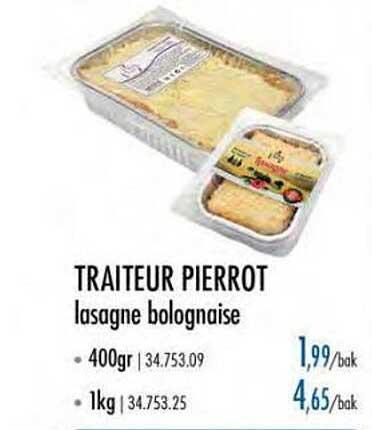 Horeca Totaal Traiteur Pierrot Lasagne Bolognaise
