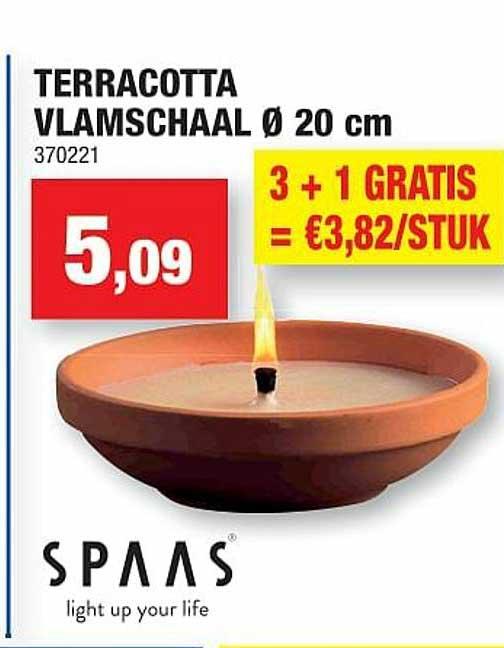 Hubo Terracotta Vlamschaal 20 Cm Spaas