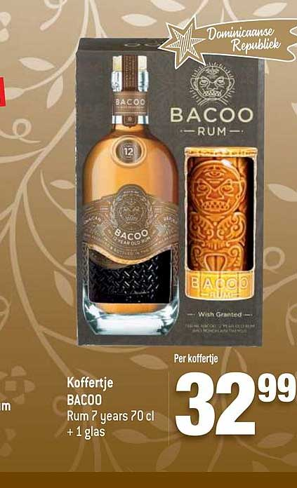 Match Koffertje Bacoo Rum 7 Years 70 Cl + 1 Glas