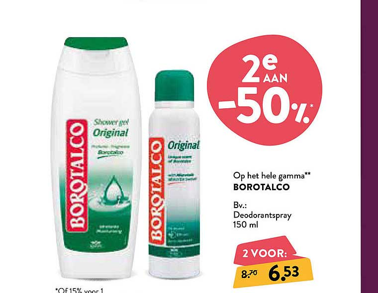 Di -50% Op Het Hele Gamma Borotalco