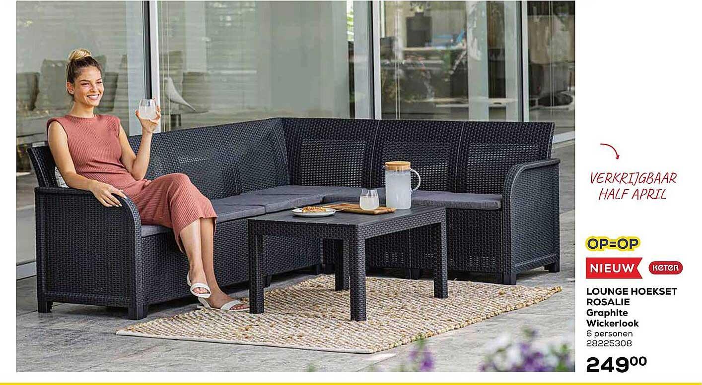 Supra Bazar Lounge Hoekset Rosalie Graphite Wickerlook