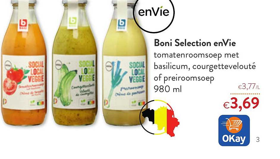 OKay Supermarkt Boni Selecation Envie Tomatenroomsoep Met Basilicum, Courgetteveloute Of Preiroomsoep