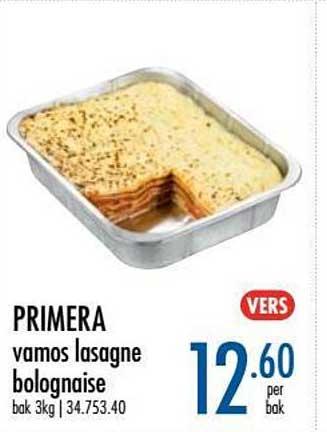 Horeca Totaal Primera Vamos Lasagne Bolognaise