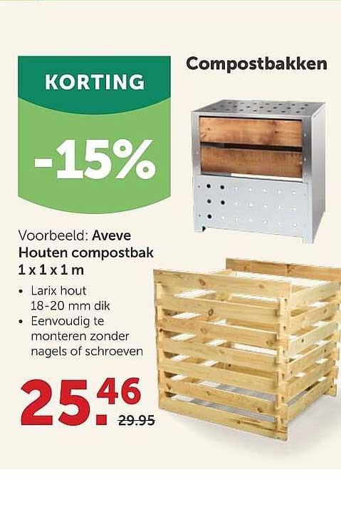 AVEVE Aveve Houten Compostbak 1x1x1 M