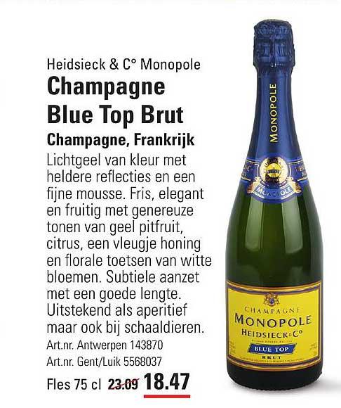 ISPC Heidsieck & C° Monopole Champagne Blue Top Brut