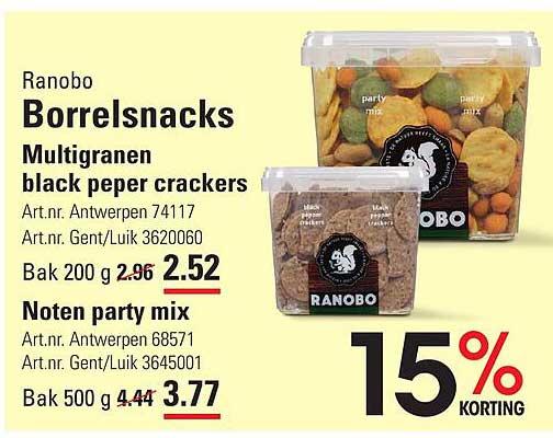 ISPC Ranobo Borrelsnacks Multigranen Black Peper Crackers Of Noten Party Mix