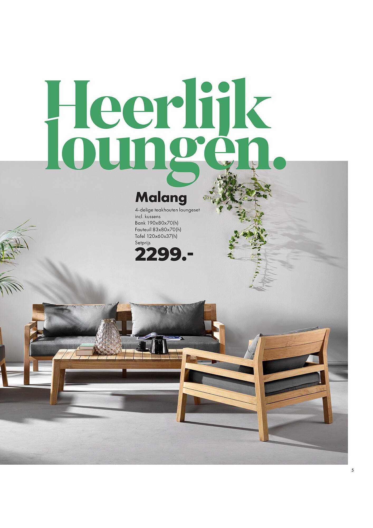 Freetime Malang 4 Delige Teakhouten Loungeset Incl. Kussens