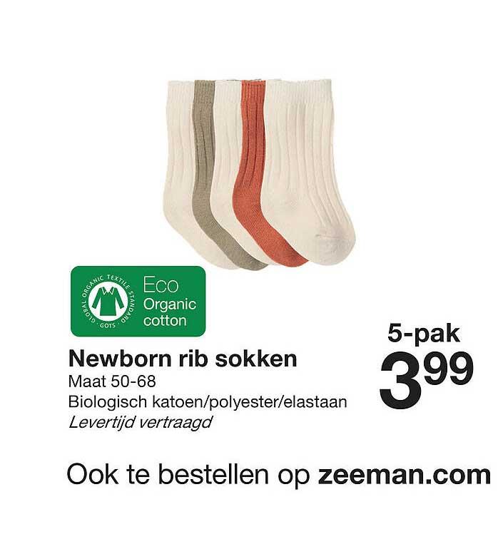 Zeeman Newborn Rib Sokken