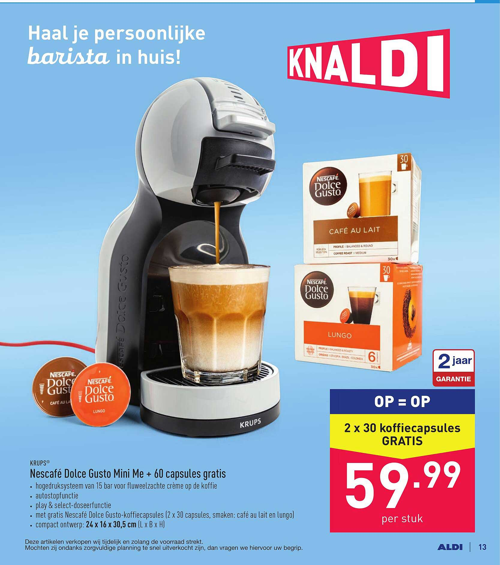 ALDI Krups Nescafe Dolce Gusto Mini Me + 60 Capsules Gratis