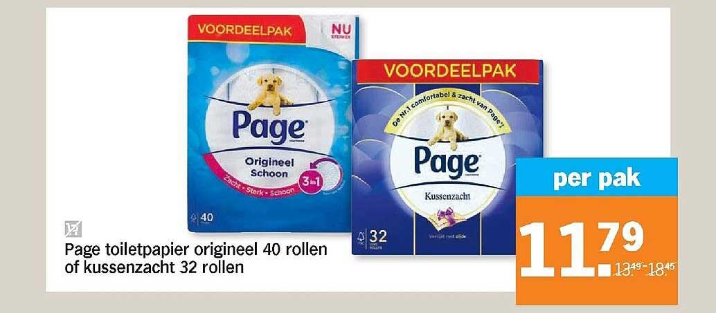 Albert Heijn Page Toiletpapier Origineel 40 Rollen Of Kussenzacht 32 Rollen
