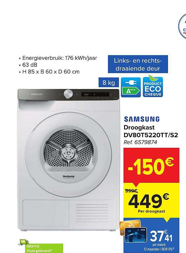 Carrefour Samsung Droogkast Dv80t5220tt-s2