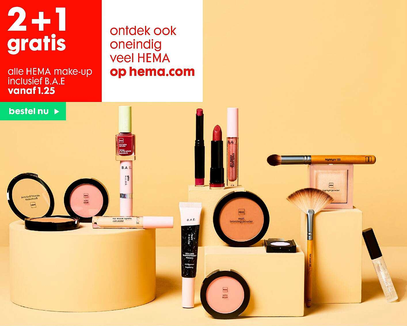 HEMA 2+1 Gratis Alle Hema Make-up Inclusief B.a.e