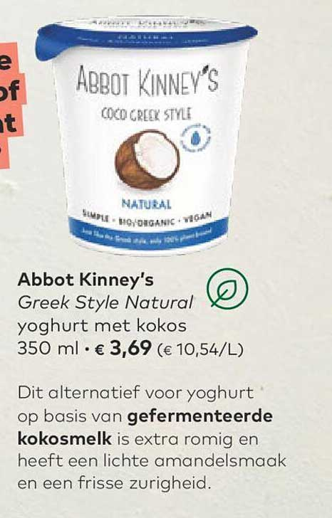 Bio Planet Abbot Kinney's Greek Style Natural Yoghurt Met Kokos