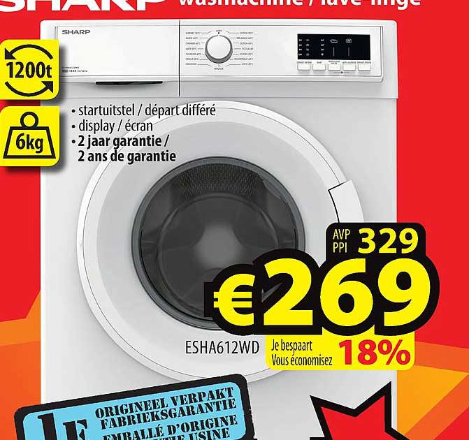 ElectroStock Sharp Wasmachine