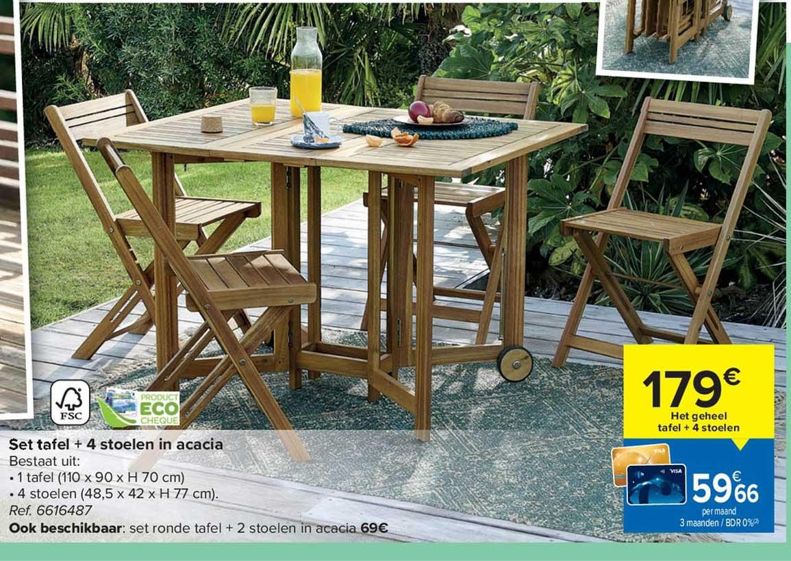 Carrefour Set Tafel + 4 Stoelen In Acacia