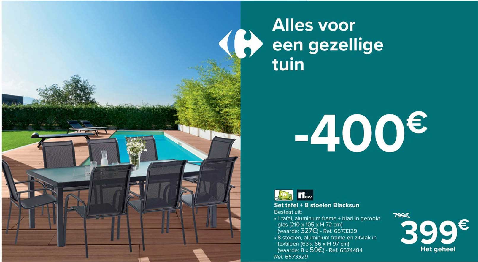 Carrefour Set Tafel + 8 Stoelen Blacksun