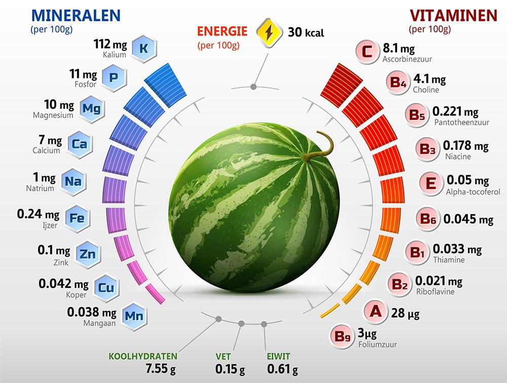 watermeloen energie mineralen vitaminen
