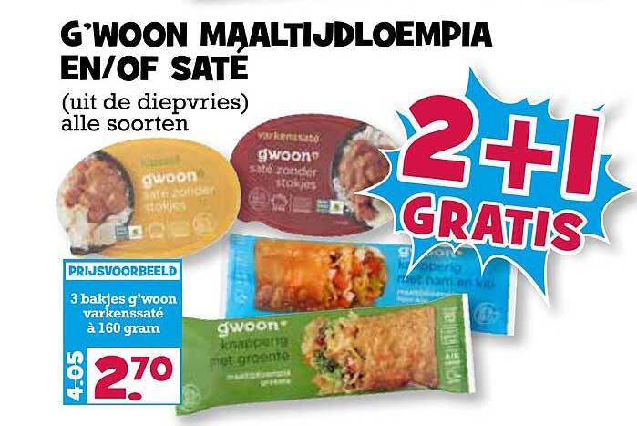 Boon's Markt G'woon Maaltijdloempia En-of Saté 2+1 Gratis