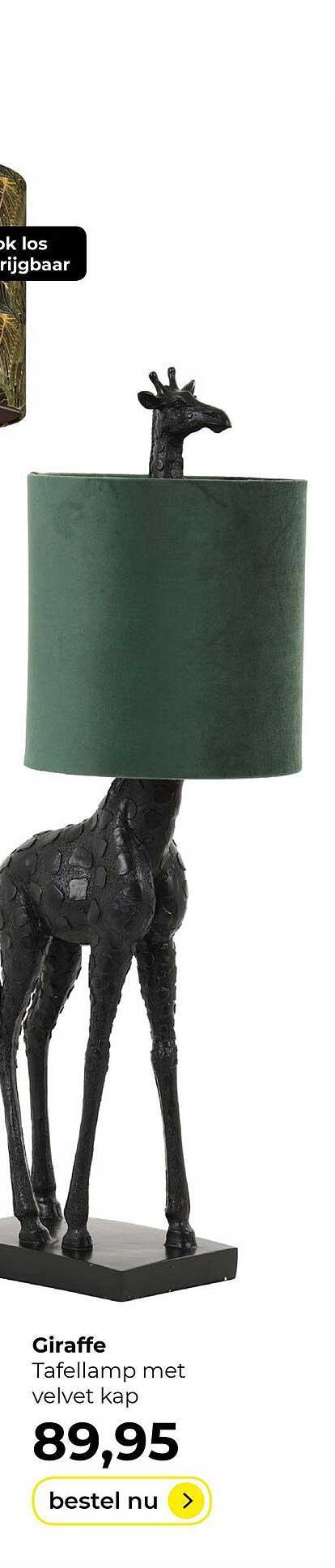Lampidee Giraffe Tafellamp Met Velvet Kap