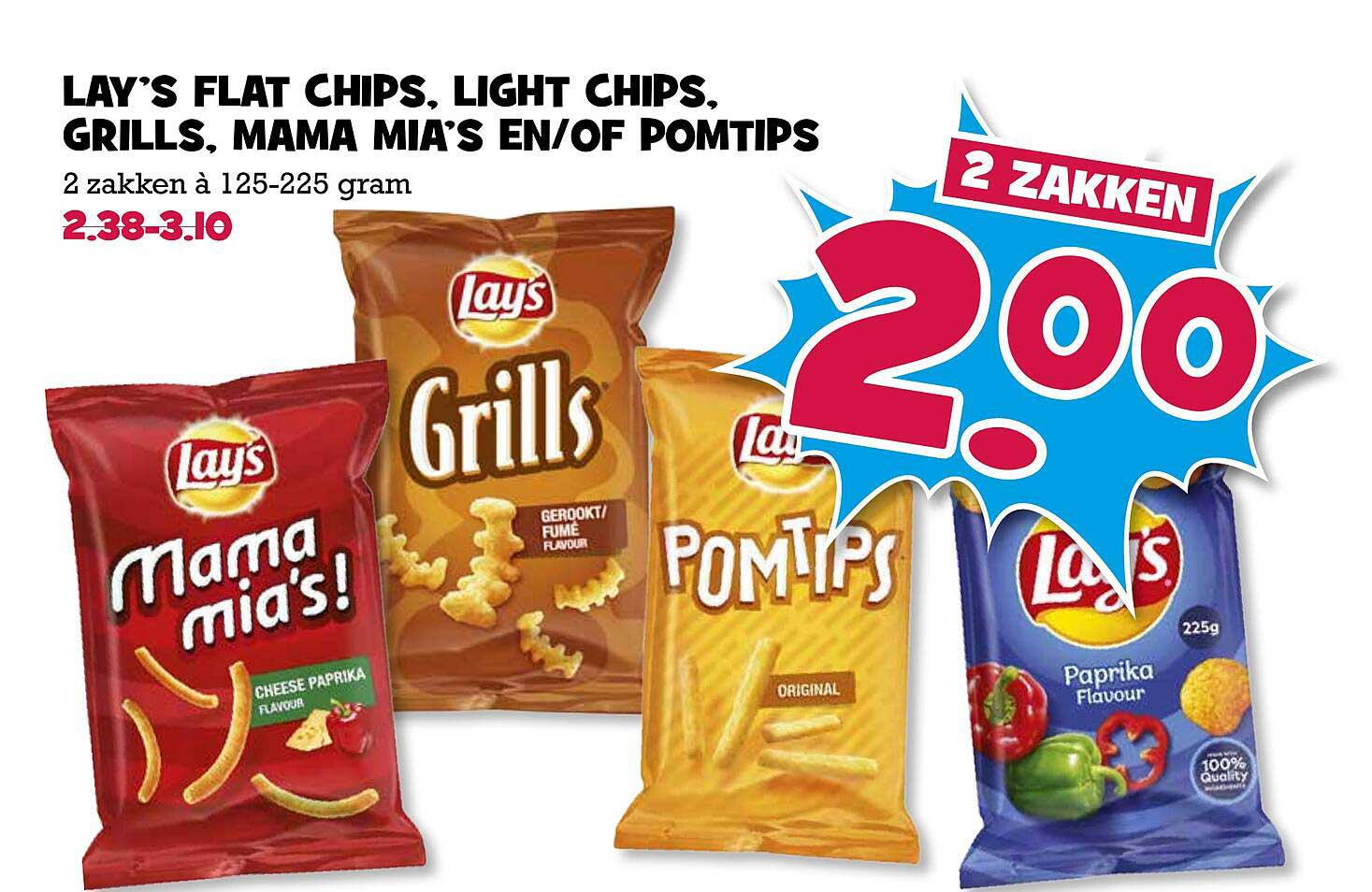 Boon's Markt Lay's Flat Chips, Chips, Grills, Mama Mia's En-of Pomtips