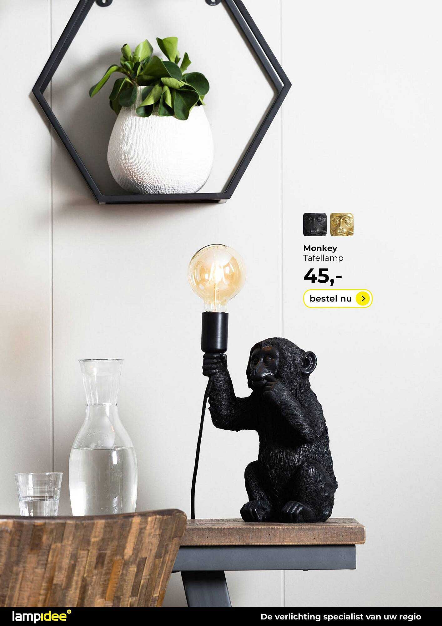 Lampidee Monkey Tafellamp