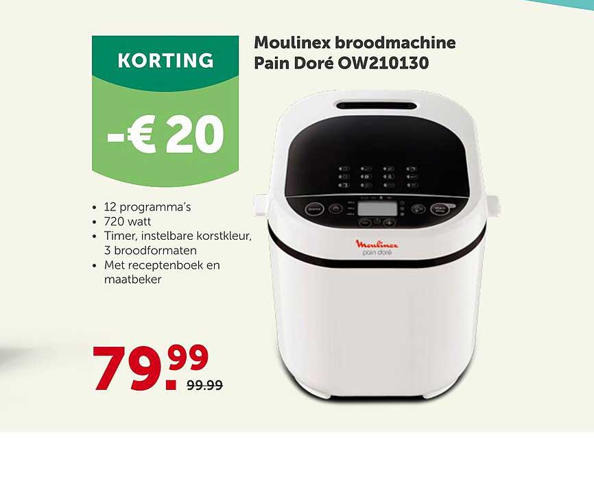 Aveve Moulinex Broodmachine Pain Doré OW210130 -€ 20 Korting