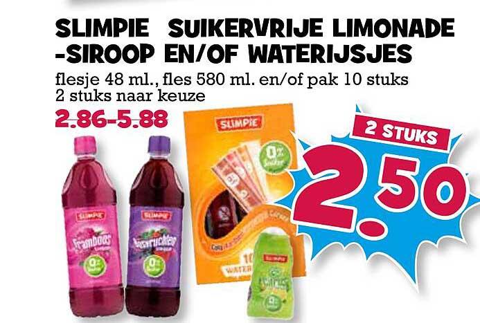 Boon's Markt Slimpie Suikervrije Limonadesiroop En-of Waterijsjes