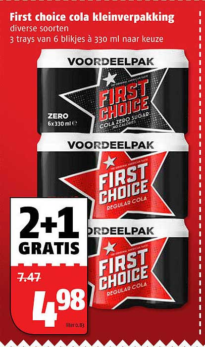 Poiesz First Choice Cola Kleinverpakking 330 Ml 2+1 Gratis