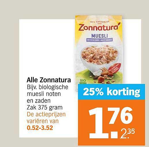 Albert Heijn Alle Zonnatura 25% Korting