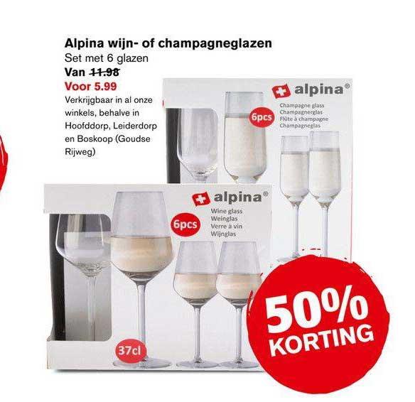 Hoogvliet Alpina Wijn- Of Champagneglazen 50% Korting