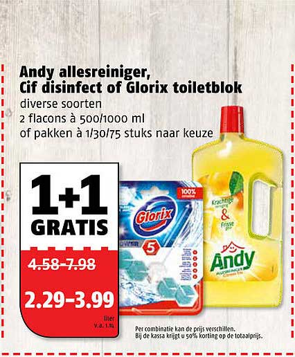 Poiesz Andy Allesreiniger, Cif Disinfect Of Glorix Toiletblok 1+1 Gratis