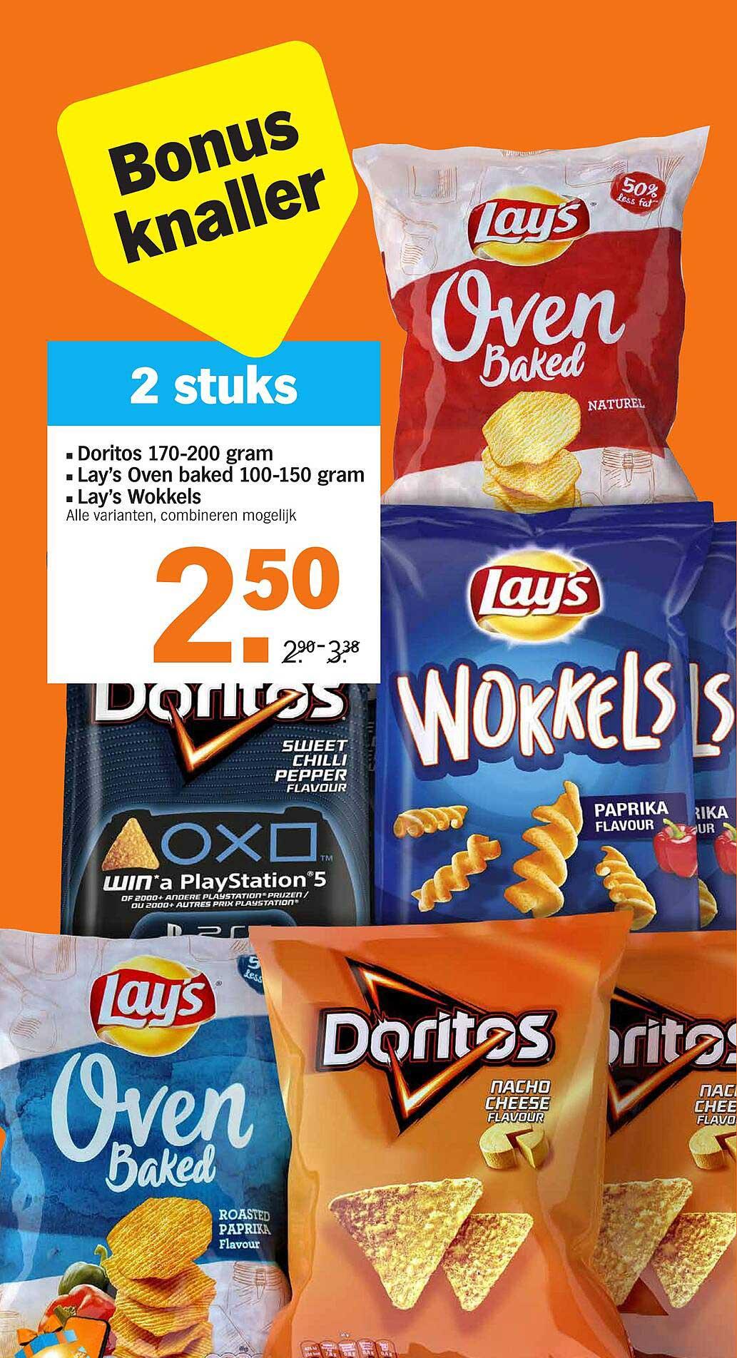 Albert Heijn Doritos 170-200 Gram, Lay's Oven Baked 100-150 Gram Of Lay's Wokkels