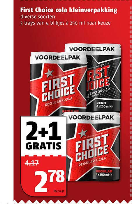 Poiesz First Choice Cola Kleinverpakking 250 Ml 2+1 Gratis