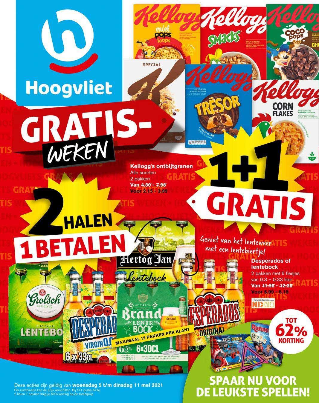 Hoogvliet Kellogg's Ontbijtgranen, Desperados Of Lentebock 1+1 Gratis Tot 62% Korting