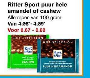 Hoogvliet Ritter Sport Puur Hele Amandel Of Cashew