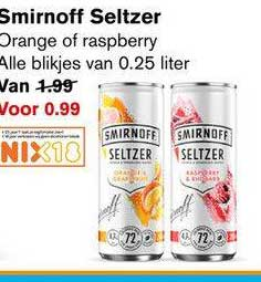 Hoogvliet Smirnoff Seltzer Orange Of Raspberry