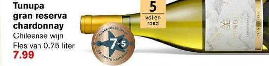 Hoogvliet Tunupa Gran Reserva Chardonnay Chileense Wijn