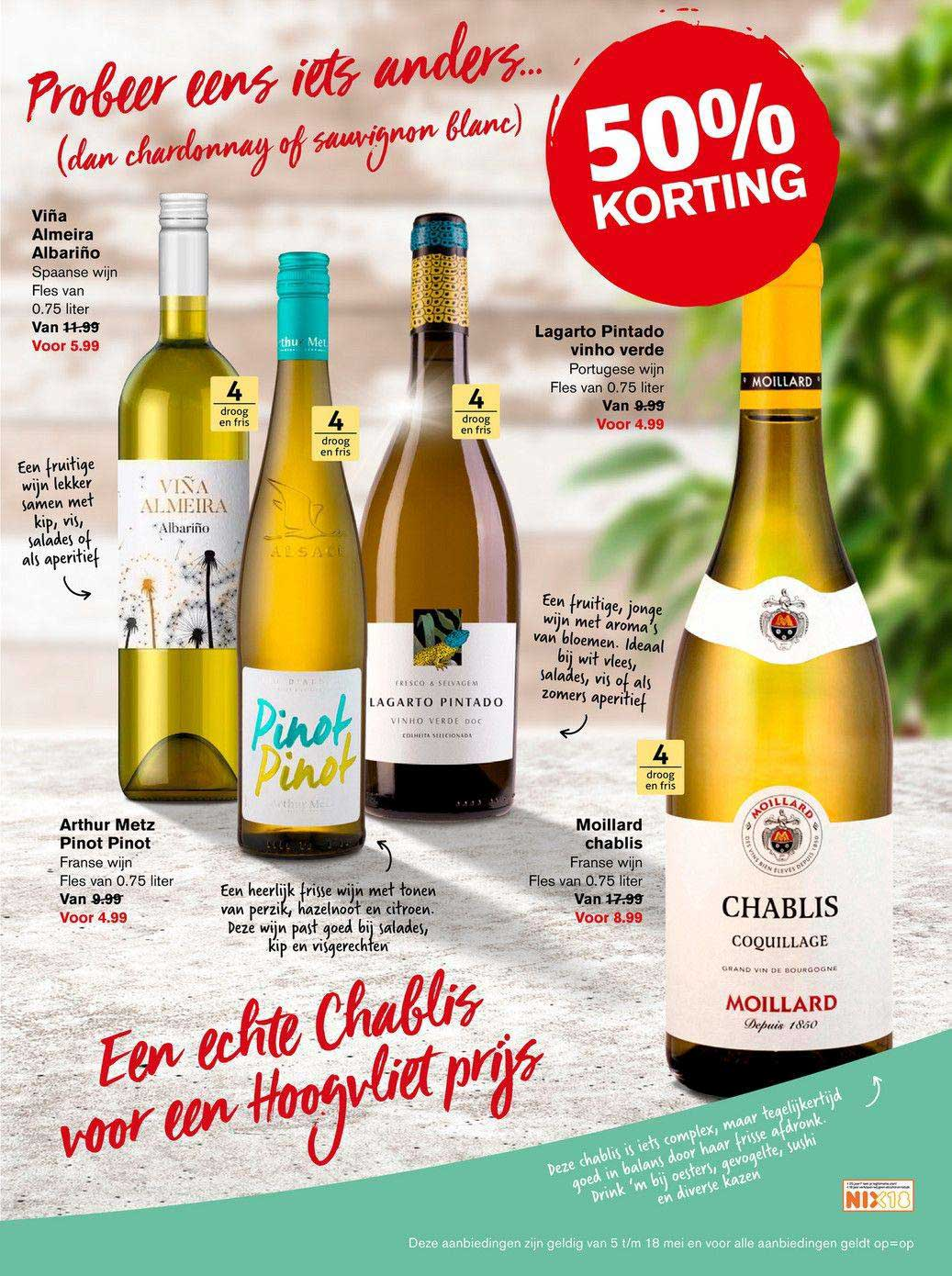 Hoogvliet Viña Almeira Albariño, Arthur Metz Pinot Pinot, Moillard Chablis Of Lagarto Pintado Vinho Verde 50% Korting