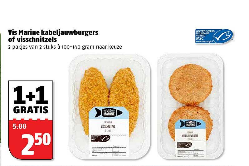 Poiesz Vis Marine Kabeljauwburgers Of Visschnitzels 1+1 Gratis