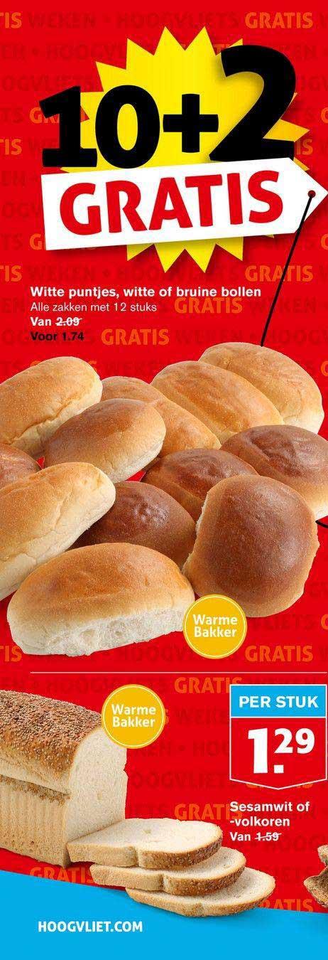 Hoogvliet Witte Puntjes, Witte Of Bruine Bollen 10+2 Gratis Of Sesamwit Of -volkoren