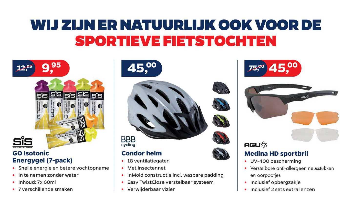 Bike Totaal Sis Go Isotonic Energygel (7-Pack), BBB Cycling Condor Helm Of Agu Medina HD Sportbril