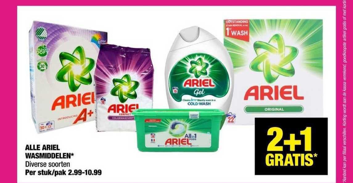 Big Bazar Alle Ariel Wasmiddelen 2+1 Gratis