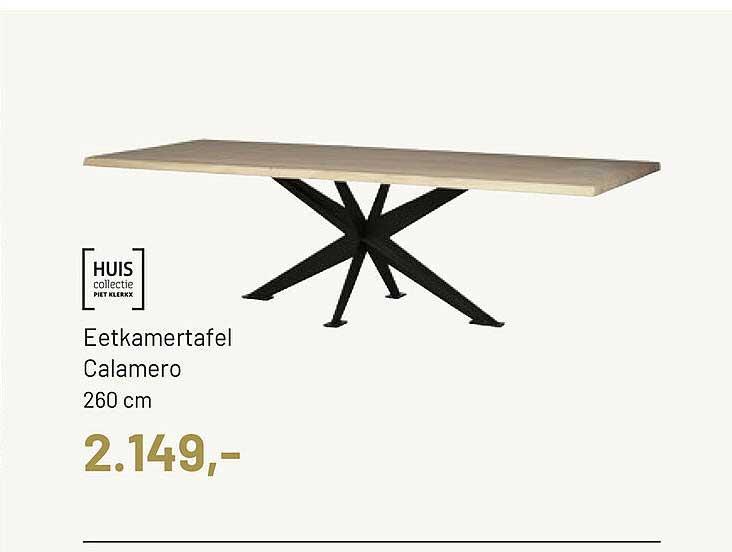 Piet Klerkx Huis Collectie Eetkamertafel Calamero 260 Cm