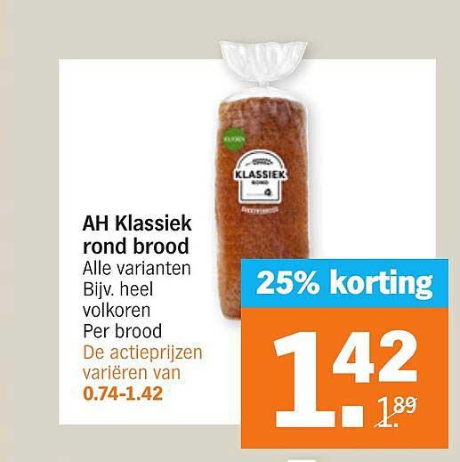 Albert Heijn AH Klassiek Rond Brood 25% Korting