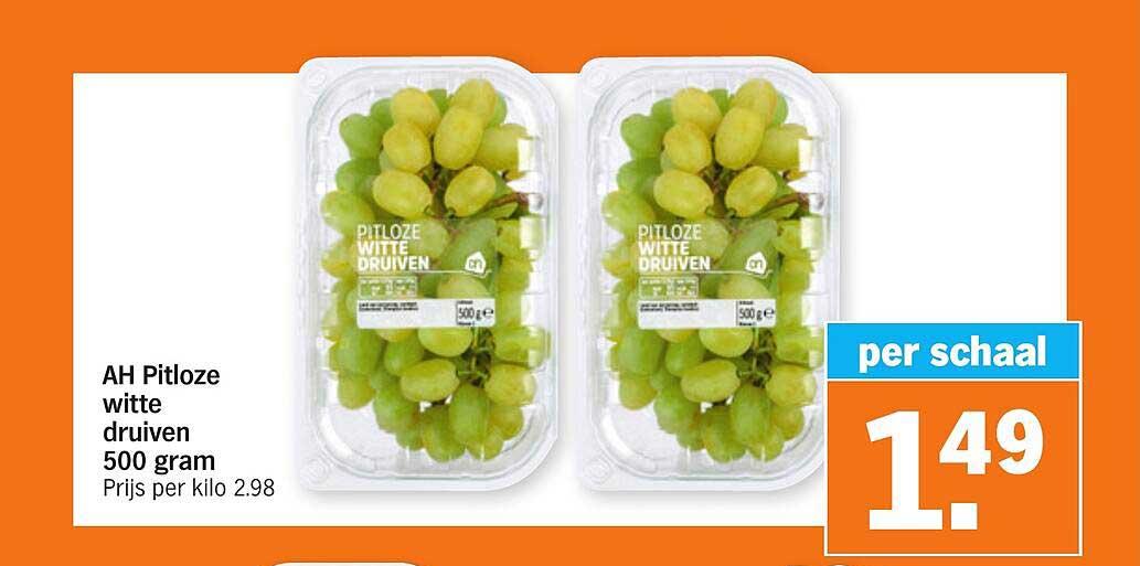 Albert Heijn AH Pitloze Witte Druiven 500 Gram