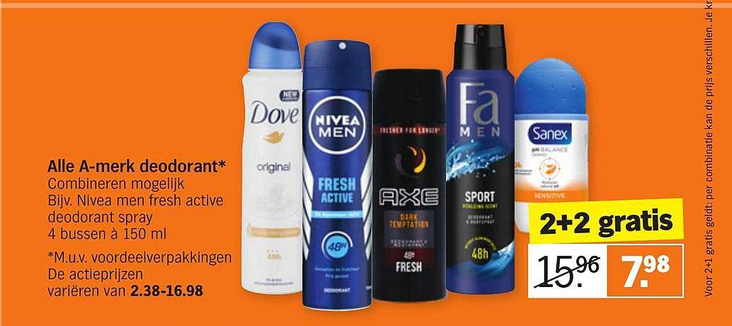 Albert Heijn Alle A-merk Deodorant 2+2 Gratis