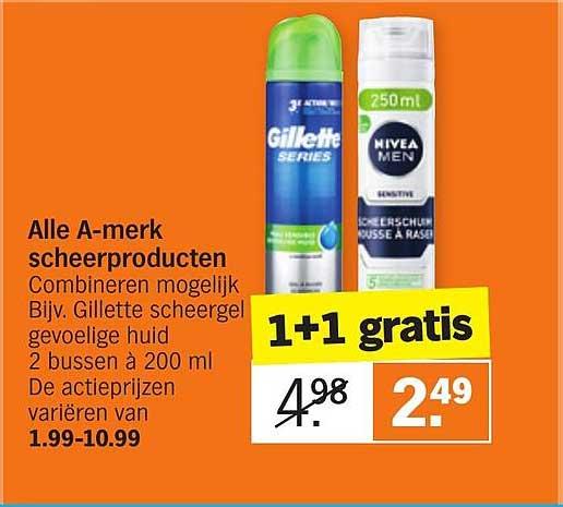 Albert Heijn Alle A-merk Scheerproducten 1+1 Gratis