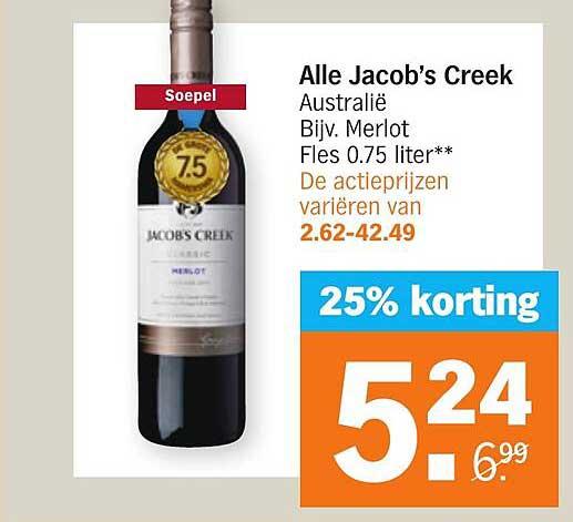Albert Heijn Alle Jacob's Creek 25% Korting